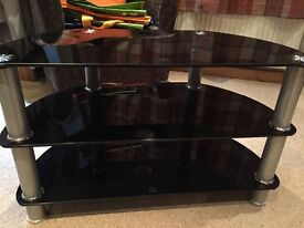 Black glass 3 tier tv stand with silver separators fast sel required