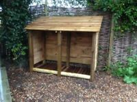 NEW LOG STORE/ FIRE WOOD SHELTER. RUSTIC YET STYLISH, STURDY AND FUNCTIONAL.