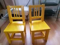 Kids children's wooden chairs x 2