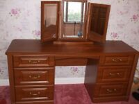 dark wood effect dressing table with triple mirror
