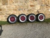 Calibre purple bbs replica 5x100 r16 8j car wheels and very good condition tyres