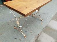 Small Table Desk With Antique Metal Distressed Paintwork Base