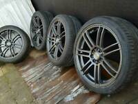 """17"""" alloy wheels 4x100 4x108 League wide 7j corsa clio vauxhall renault peugeot"""
