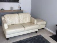 Cream leather sofas x 2 plus storage stool