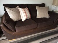 """3 seater and 2 seater Brown material """"Reids"""" sofas"""