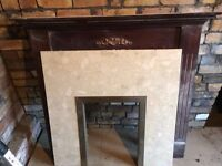 Fireplace surround & marble inset vintage retro