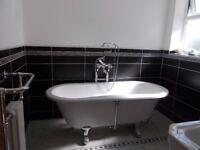 Bathroom Suite: Burlington London Free standing bath, taps, radiator, sink and toilet