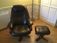 Brown Leather and wood reclining Chair with stool