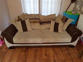 2 x 3 seater sofas plus foot stool