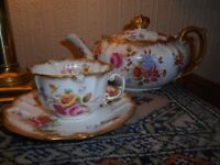 Dresden Hammersley China Teapot & Cup & Saucer Shabby Chic Vintage Floral Roses