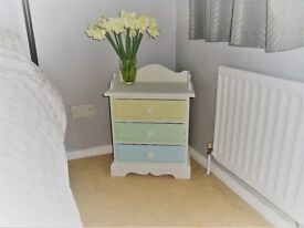 Painted solid wood bedside drawers