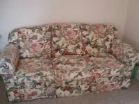 Patterned Settee and Armchair