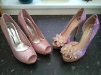 Two pairs of ladies pink high heeled shoes size 6