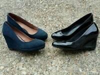 2 pairs of ladies wedge shoes size 3 & half
