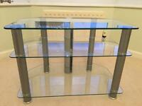 TV/DVD STAND glass and silver