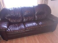 2 piece Brown leather Suite - 3 seater sofa and armchsir