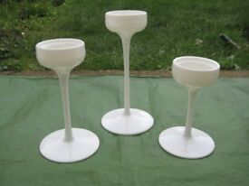 3 Matching White Ceramic IKEA Blomster Candlesticks for £5.00