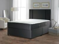NEW BLACK MEMORY FOAM DIVAN BED SET WITH MATTRESS HEADBOARD 3FT 4FT6 Double 5FT