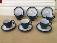 Denby Greenwich Stoneware, a set of six cups and saucers