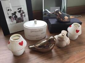 Bundle - birds, photo frames, pot and candle lamps