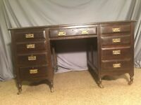 ANTIQUE STYLE TWIN PEDESTAL PARTNERS DESK WITH RED LEATHER TOP MAHOGANY