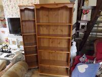 2 x Large pine bookcase/ shelf units
