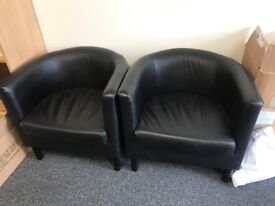 Black Tub Chairs Armchair, good condition, quick to go!