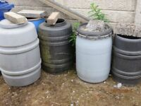barrels for garden useful as plastic planters/compost/water barrels