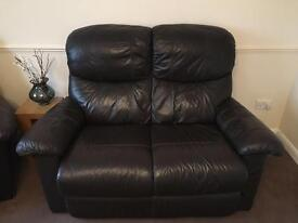 100% genuine leather sofa and fully reclining armchairs