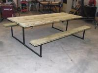 The ULTIMATE Picnic Table. 8' long. Steel frame. 2x10 benches.
