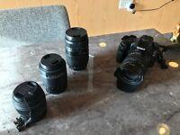 Sony A65 with four lenses
