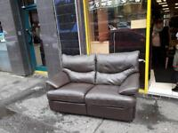 2 seater sofa in brown leather fully reclining £119