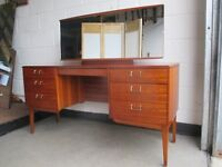 VINTAGE LEBUS MAHOGANY VENEER SEVEN DRAWER KNEEHOLE DRESSING TABLE WITH MIRROR FREE DELIVERY
