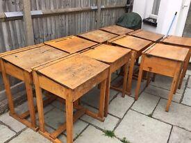 Large Vintage Retro Antique Flip Top Wooden School Desk