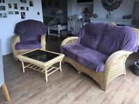 Attractive two seater cane settee, chair and table for sale