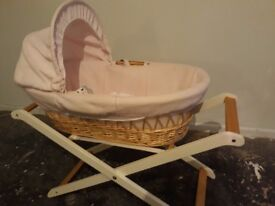 PINK MOSES BASKET & STAND + SHEETS AND BLANKET