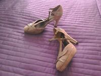 Tee bar strap shoe beige wore once from next size 5