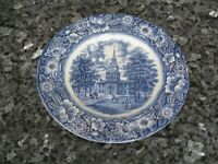 "STAFFORDSHIRE LIBERTY BLUE INDEPENDENCE HALL 9.75"" PLATE-NEAR PERFECT CONDITION"