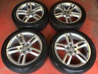 18'' GENUINE AUDI A6 S LINE 5 DOUBLE SPOKE ALLOY WHEELS TYRES ALLOYS A4 B8 5X112