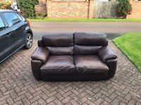 Rich Brown Leather Sofa