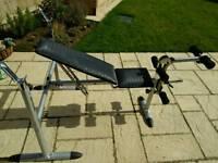 Kettler weights bench + weights + dumbell bars