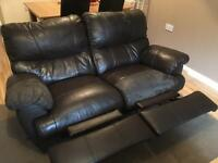 2 seater & 3 seater reclining leather sofas