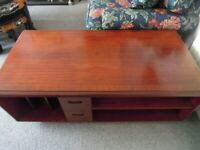 Vintage Meredew TV/HiFi Unit ~ Solid Wood ~ Very Heavy ~ Protective Glass Top