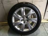 ALLOYS X 4 OF 17 INCH AUDI A5 IN EXCELLENT UNMARKED CONDITION SILVER WITH A SET OF BRIDGESTONE TYRES