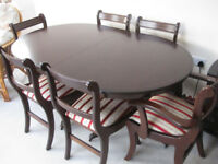 "Mahogany extendable Dining table 5' 3"" X 3' 3"" ( 1.6m x 1m ) extendable to 7'.0"" plus 6 Chairs"