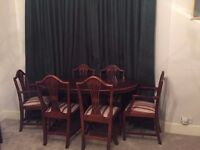 Elegant, solid wood dining table (extendable), 4 dining chairs, 2 carver chairs
