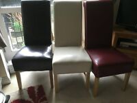 3 x coloured leather chairs - good condition