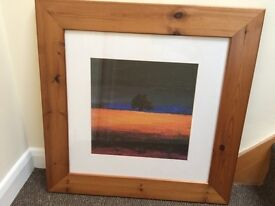 Landscape of tree & stormy sky painting in wooden frame