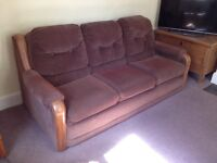 Large American Brown Sofa Bed with Kingsize Mattress