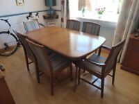 Stag Richmond cherry wood extending dining table and 6 chairs